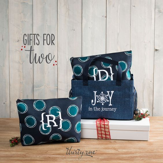 Thirty-One Gifts – Gifts for Two! #ThirtyOneGifts #ThirtyOne #Monogramming #Organization #NovemberSpecial #ZipTopOrganizingUtilityTote #ZipperPouch
