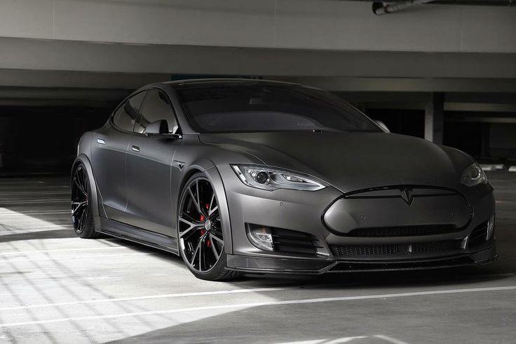 modified matte black Tesla Model S | (by: Shoreline Motoring)