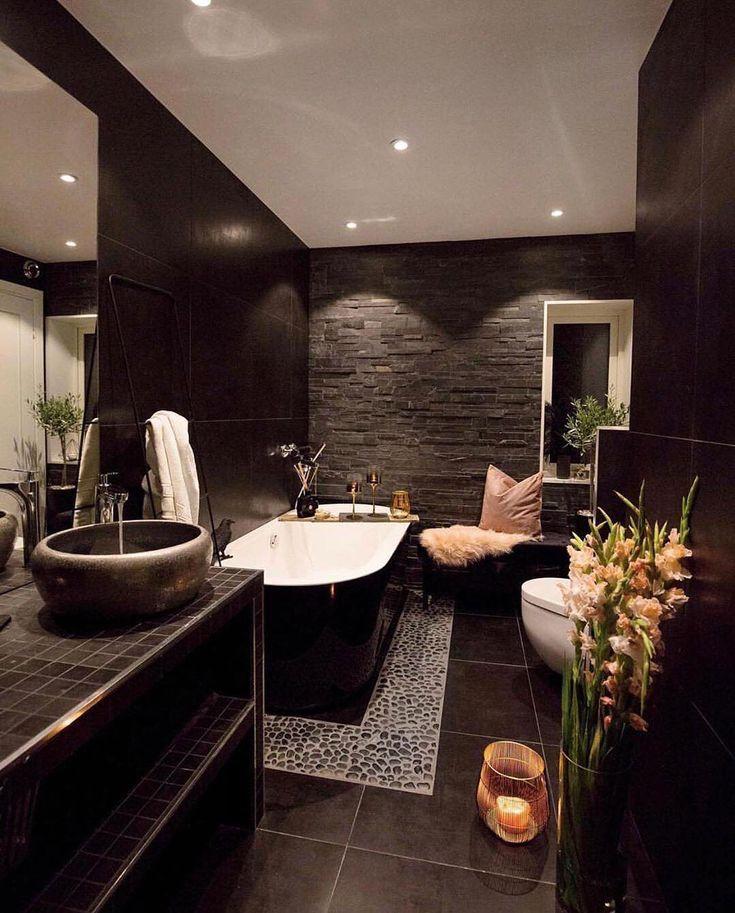 247interiors On Instagram Amazing Dark Bathroom What Is Your Favorite Featu 2019 Bathroom Diy Interior Design Career Home N Decor Interior Decorating