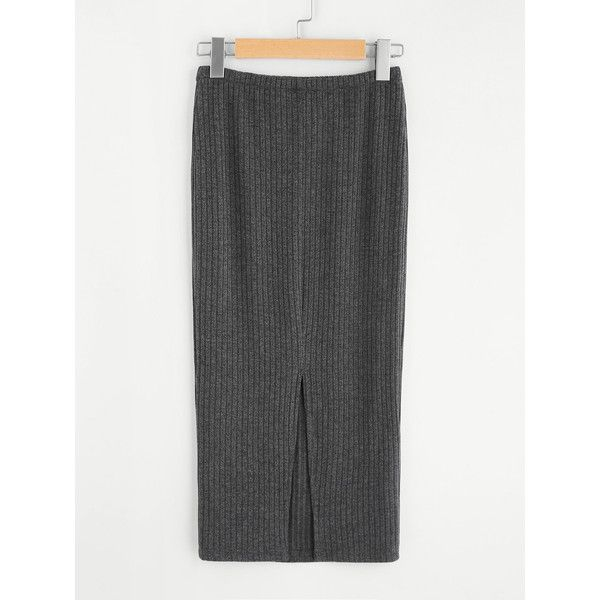 SheIn(sheinside) Vented Back Rib Knit Skirt (36 BRL) ❤ liked on Polyvore featuring skirts, grey, long pencil skirt, long stretch pencil skirt, grey pencil skirt, long gray skirt and stretch maxi skirt