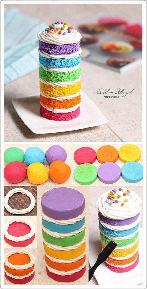 Gâteau multicolor en pâte polymère