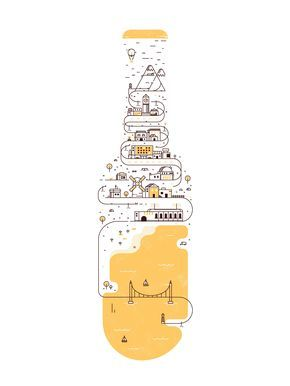 The town that beer built illustration, vector, minimal, city