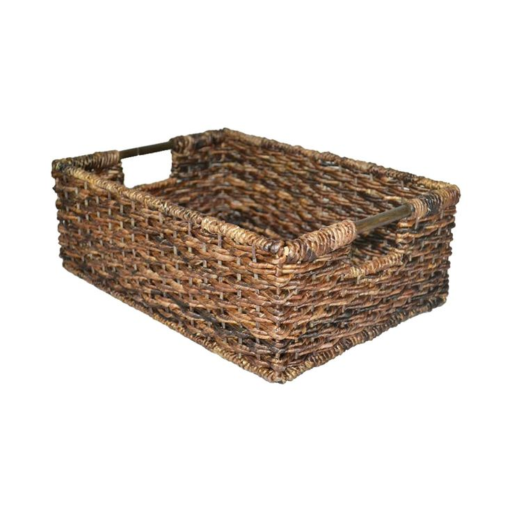 • durable banana leaf and wicker construction<br>• cut-out handles<br>• lacquered finish<br><br>The Threshold Dark Global Brown Wicker Folio Bin is a sturdy and versatile basket for any room in the house. It easily holds dvds, cds, devices and chargers, socks and underwear, toys—anything and everything. Perfect for kitchen, baby room or family room shelves.