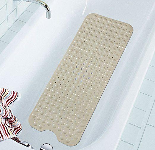 NTTR Non Slip Anti-Bacterial Extra Long Bathtub Mat, Beige, 16 W x 39 L Inch