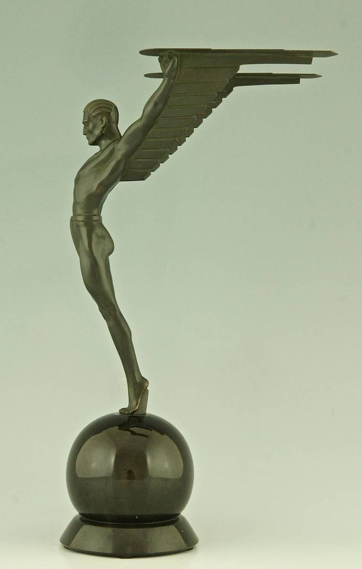 Icarus, An Art Deco Sculpture Of A Winged Male Nude Attributed To Schmidt  Hofer