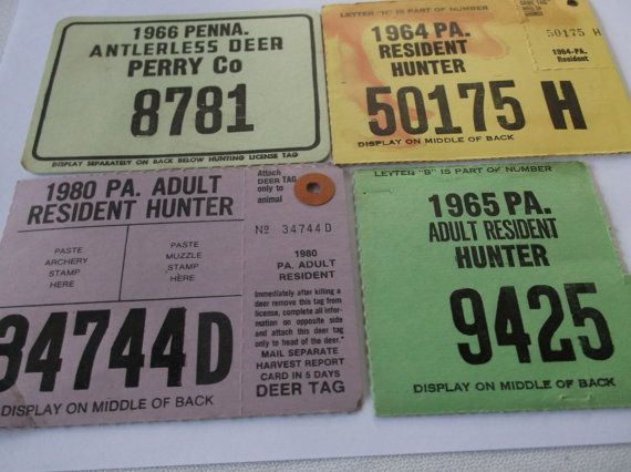 Lot of 4 Vintage Hunting Licenses from 1960s PA, Old Deer Hunting License lot, 1 Turkey Hunter Tag, Cabin Decor, Perry Co. Turkey Hunting