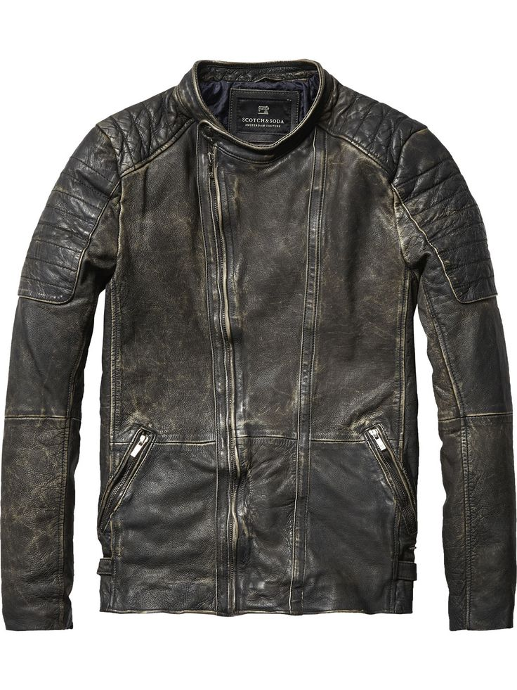 For a casual vintage look wear this classic washed leather biker jacket with coloured jeans and a knitted pullover.