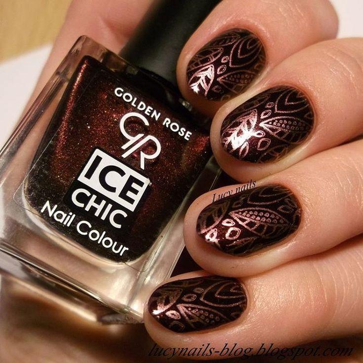 """Golden Rose Ice Chic nr 49 & płytka Blueberry 02 @goldenrosepolska @inga_beautystyl @blueberrystorepl #nails #nail #nailart #nailartaddict #nailstagram…"""