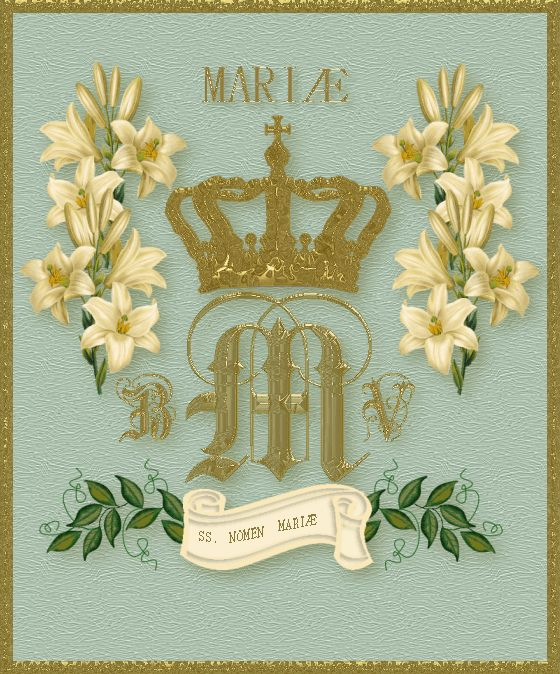 Official, traditional monogram with a gold crown, ferns and Madonna lilies. Sometimes, ivy is also used for its evergreen quality.