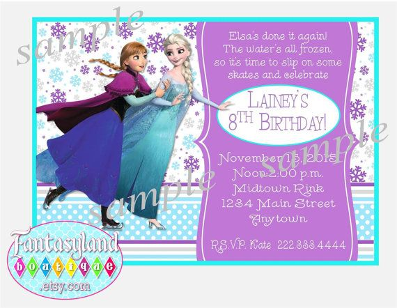 Frozen Ice Skating Party Invitation by FantasylandBoutique.etsy.com, $8.99 Frozen Party, Elsa and Anna skating, Ice Skating birthday party