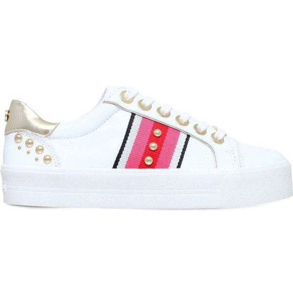 CARVELA Lax embellished leather trainers (230 CAD) ❤ liked on Polyvore featuring shoes, sneakers, studded shoes, lacing sneakers, embellished shoes, rubber sole shoes and leather shoes