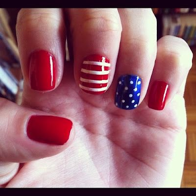 4th of july glue on nails