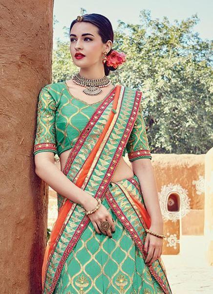 Women's Green With Beads Work Silk Lehengacholi Shop