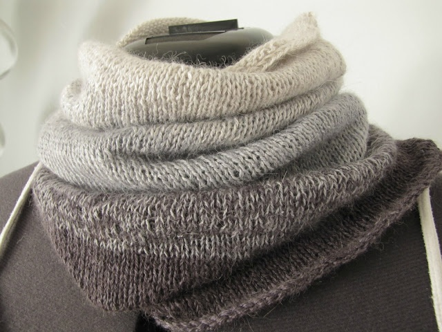 Ombre cowl - use fingering yarn in a gradient rather than different lace yarn...