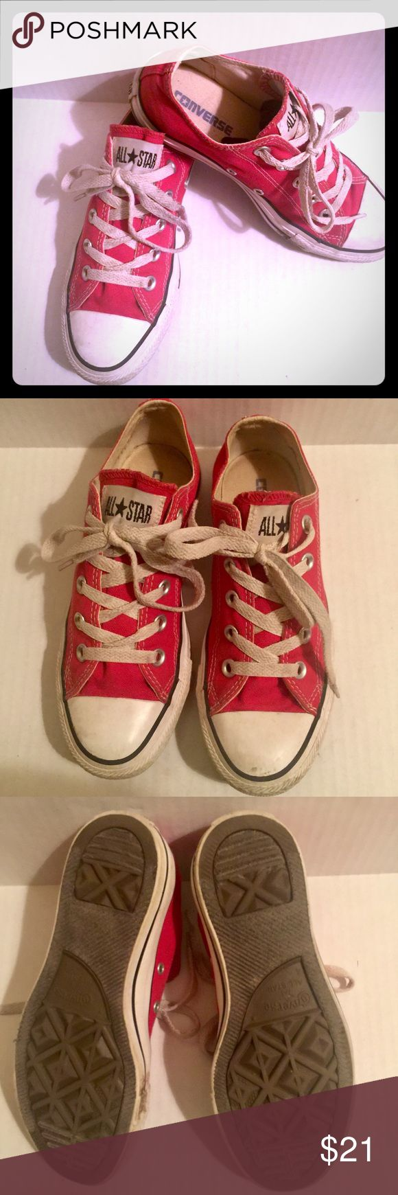 Red Converse All Stars Size 6 women's; size 4 men's. Red Converse All-Stars. Ok condition, normal wear and tear. Converse Shoes