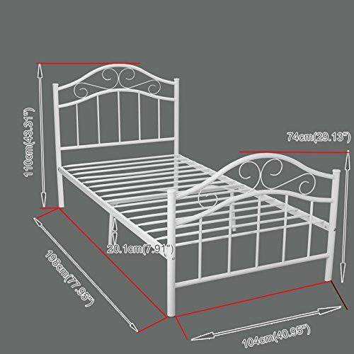 kingpex metal platform bed frame twin size steel mattress foundation kids teen bedroom home furniture white