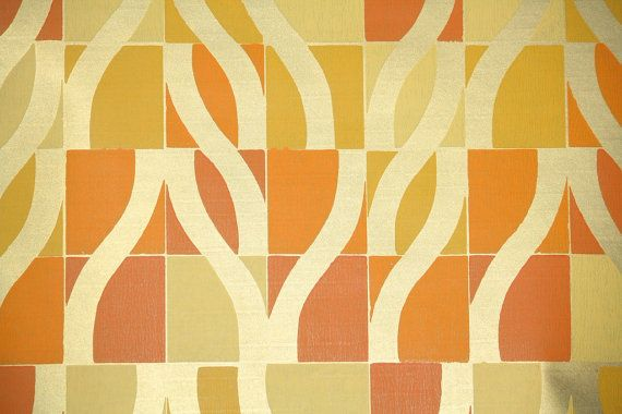 Retro Wallpaper  1970's Vintage Wallpaper Orange by RetroWallpaper