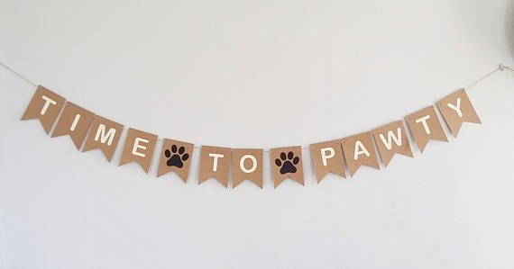 Pawty Banner Bunting Sign Dog Cat Birthday Paw print Pawprint Party Dog Birthday Party Supplies Party Decorations Decor Time to Pawty