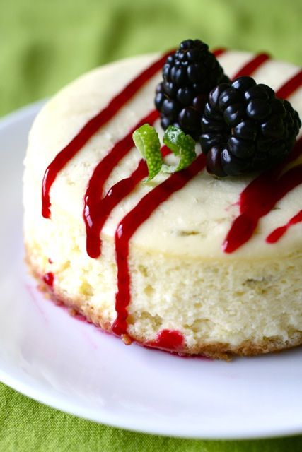 Lime Cheesecake with Blackberry Sauce