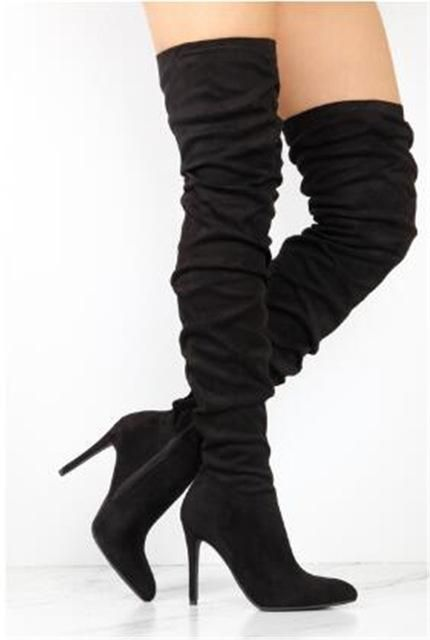 a089d455158 Sestito Woman Fashion Pleated Pointed Toe Over-the-knee Boots Girls Zipper  Super High Heels Long Boots Female Suede Red Boots