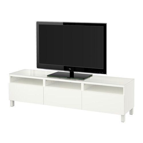 BESTÅ Tv-bänk med lådor, Lappviken vit Lappviken vit 180x40x48 cm lådskena, tryck-och-öppna