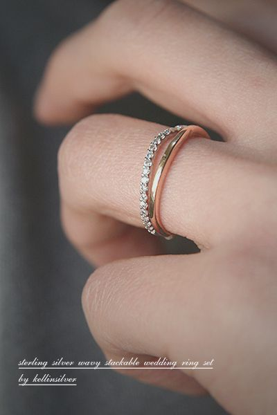 Stackable Sterling Silver Wavy Wedding Ring Bands Set