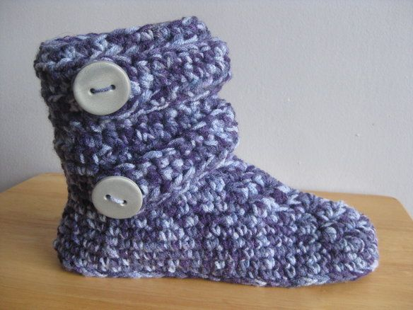 Handmade crochet boot-style slippers (unisex) —