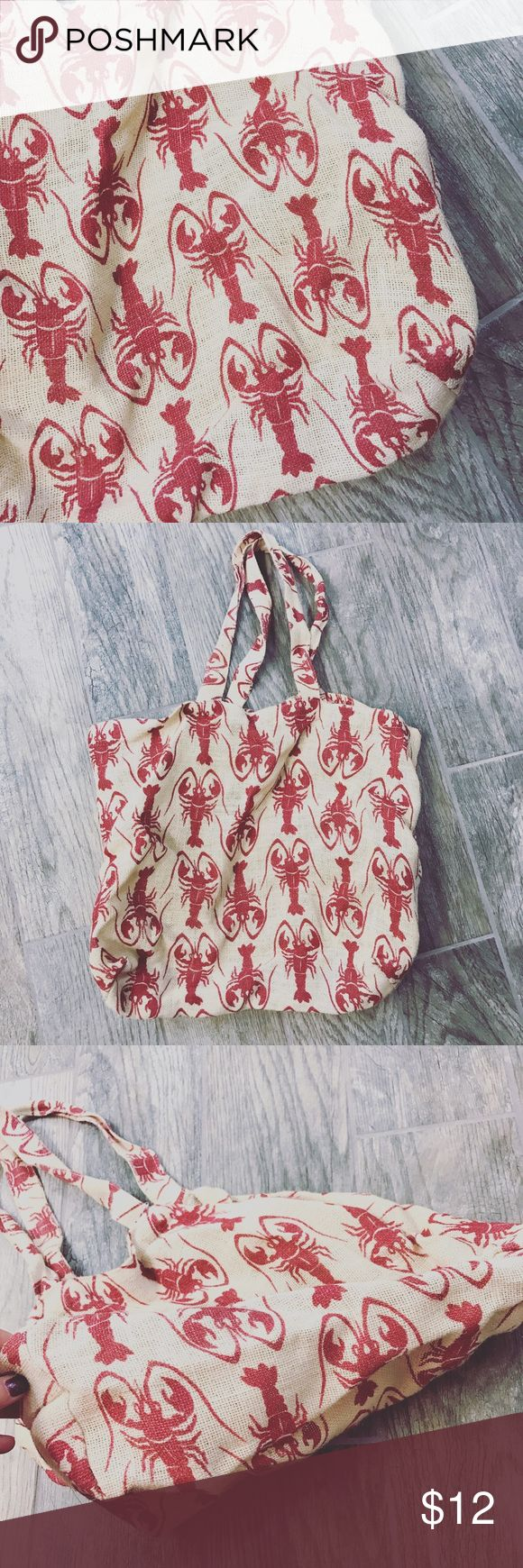 Jute lobster beach bag Used in perfect condition!  -Very spacious fits a ton of stuff in it for a day at the beach! -Made of 100% Jute  ⚜️NO TRADES ⚜️PRICE IS FIRM UNLESS BUNDLED ⚜️BUNDLE TO SAVE ⚜️FEEL FREE TO ASK ANY QUESTIONS! Bags Hobos