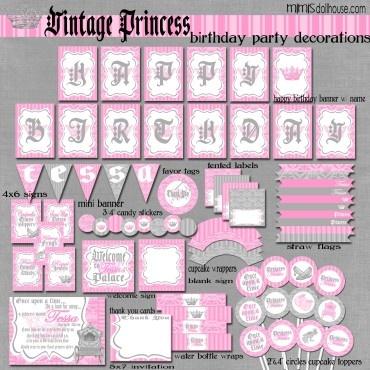 VINTAGE PRINCESS PARTY PRINTABLE COLLECTION http://mimisdollhouse.com/product/vintage-princess-party-printable-collection/