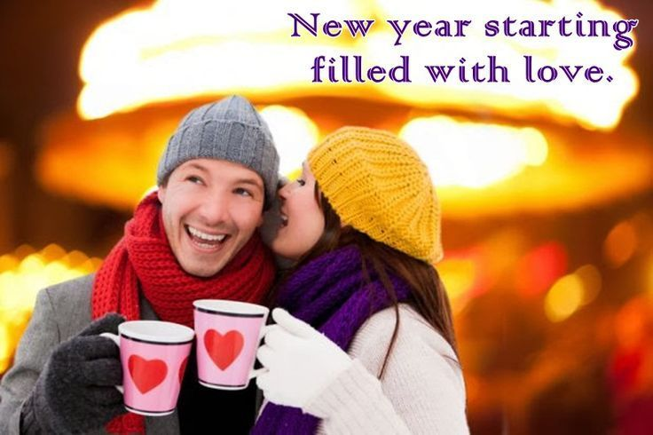 Cute Romantic Happy New Year Love Quotes & Status with Greeting Images of Couple