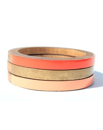Florence Skinny Bangle Set in peach, orange and gold from Voz Clothing + Art on sale until 5/4. $18