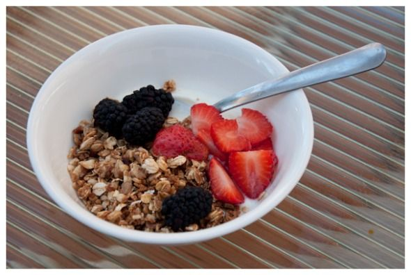 homemade low-sugar granola .. of course I would toss in chia seeds and flaxseed too, maybe some pepitas