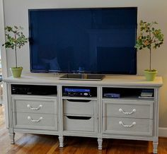 Repurpose furniture by upcycling the older piece and using it for something different. Here is a tutorial on repurposing an old dresser into a TV stand...