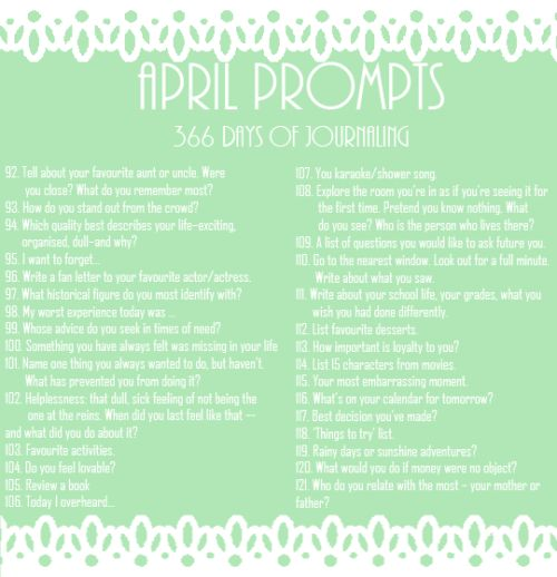 """""""366 Days of Journaling (✎) April Prompts  """""""