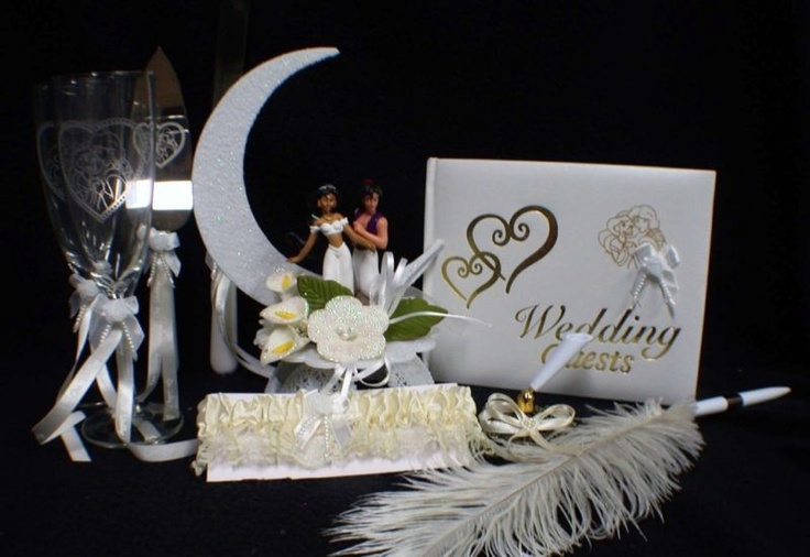 Aladdin Amp Jasmin Wedding Cake Topper Glasses LOT Disney Glas