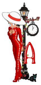 Alfabeto de Betty Boop con farola.