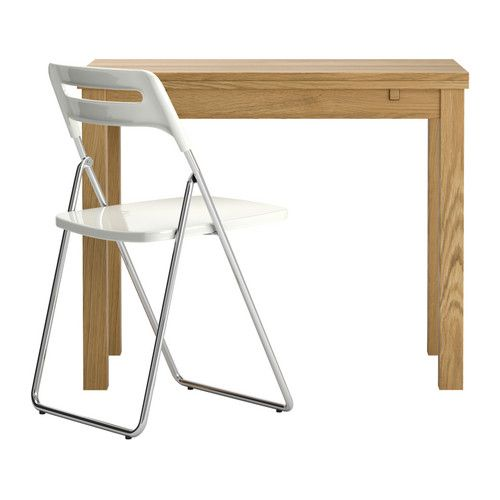 BJURSTA/NISSE table and 1 chair, $158.99, IKEA. Dining table with 2 pull-out leaves seats 1-2; makes it possible to adjust the table size according to need. Table (min. length 50 cm, length 70 cm, max. length 90 cm, width 90 cm, height 74 cm).