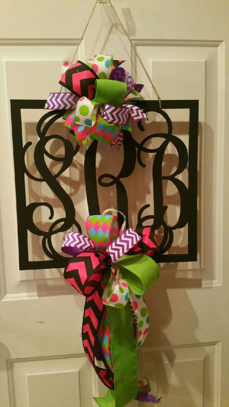 Hand Painted Square 3 Initial Door Hanger With 2 Large Ribbon Bows /  Initial Door Wreath