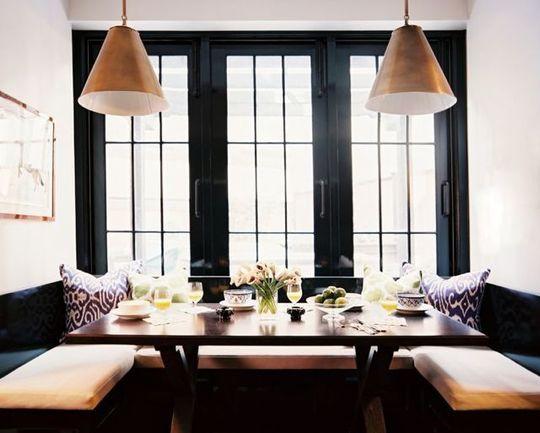 Breakfast nook: Dining Rooms, Black Window, Benches, Blacktrim, Breakfast Nooks, Kitchens Nooks, Dining Nooks, Black Trim