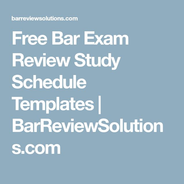 Free Bar Exam Review Study Schedule Templates | BarReviewSolutions.com