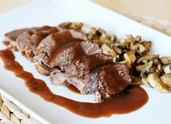 Sous-Vide Single Muscle Venison Haunch with Roasted Cep Mushrooms and Black Pepper Butter