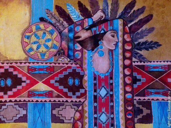 Батик панно роспись на ткани Этно от Stainedglasss500 на Etsy