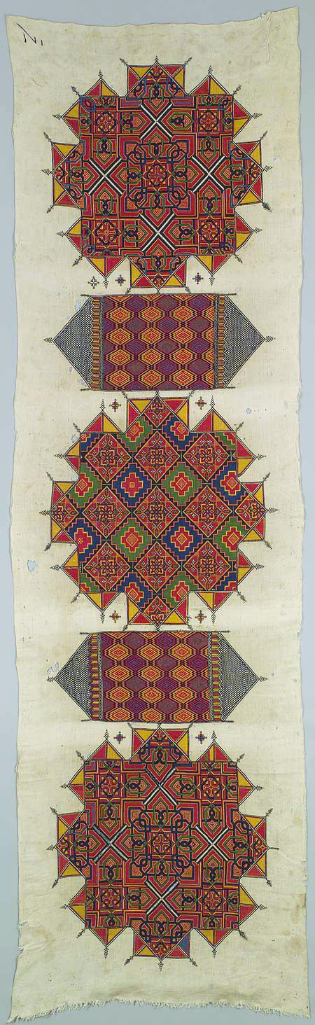 prior pinner: Africa | Embroidered panel from Morocco | ca. 1880 | Linen and silk | One of the rarest and finest examples of Moroccan embroidery, this wall hanging (arid) displays the most remarkable achievement of a Chefchaouene needlewoman's skills.