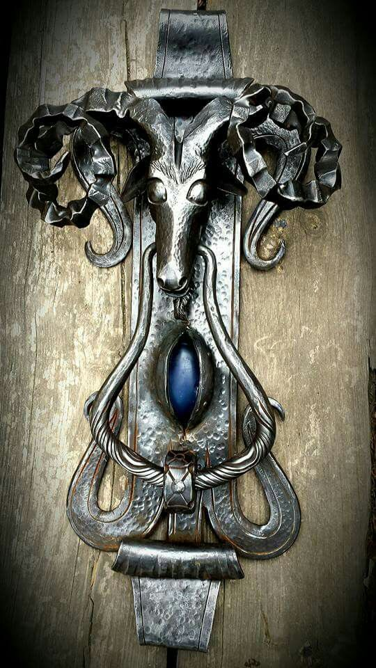 Forjangel Blacksmith black sheep door knocker