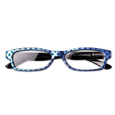 Bold blue polka dot reading glasses from #TigerStores