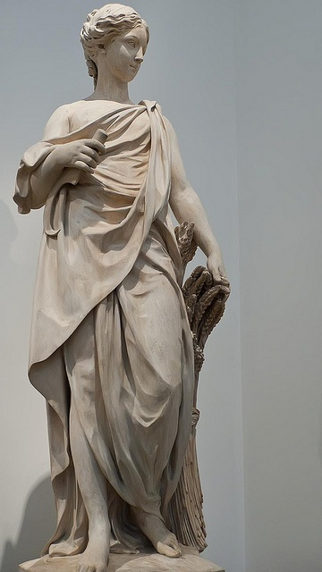 Statue of Summer as Ceres French artist unknown 1770-1790 CE. Stone.  This sculpture of Ceres appeared to be styled after a composition by Augustin Pajou.  Photographed at the Philadelphia Museum of Art, Philadelphia, Pennsylvania.