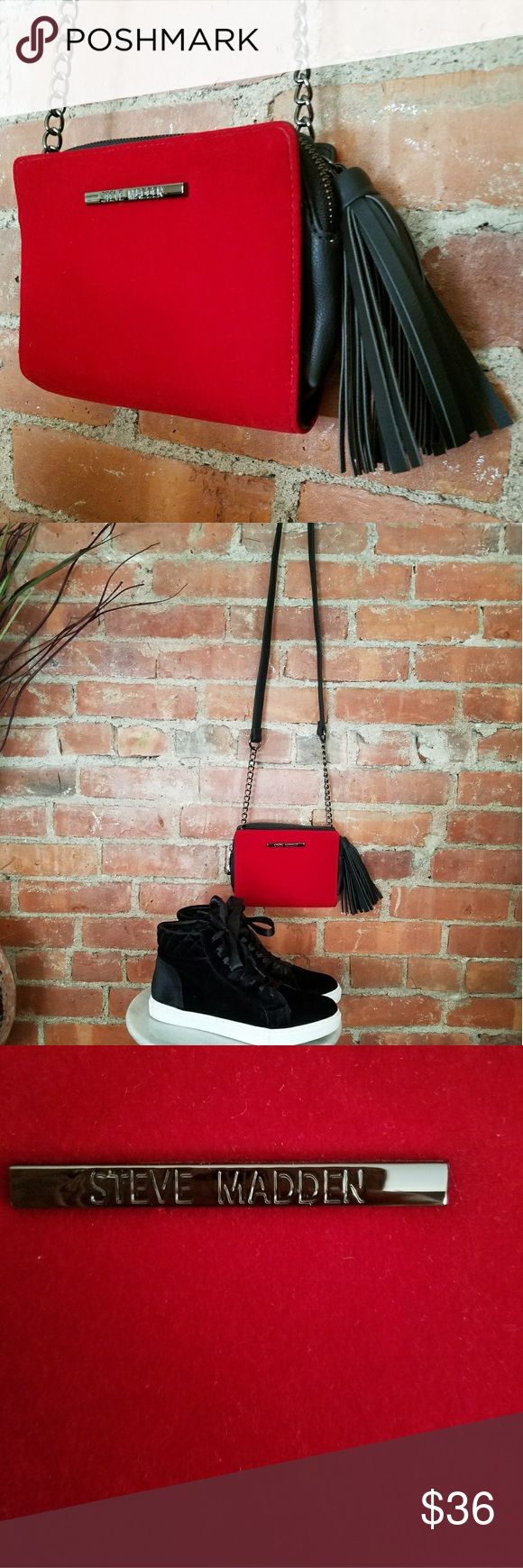 NWT STEVE MADDEN Purse This is a gorgeous purse!   The perfect red velvet with gun metal gray hardware!   The leather tassel adds more to this sweet bag!  Dressy with heels or edgy with these black velvet Steve Madden High Tops!!  Available in a separate listing, take a look! Steve Madden Bags Mini Bags