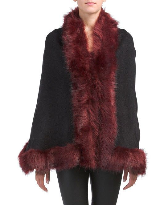 91af800026f26a NWT ADRIENNE VITTADINI Knit Ruana With Faux Fur Trim Poncho One Size  #fashion #clothing #shoes #accessories #womensclothing #sweaters (ebay link)