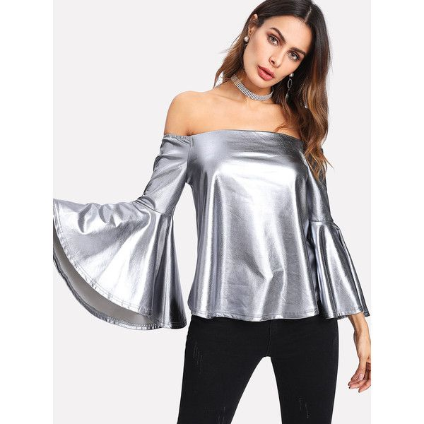 SheIn(sheinside) Trumpet Sleeve Metallic Bardot Top ($12) ❤ liked on Polyvore featuring tops, silver, ruffle top, off-shoulder tops, off the shoulder tops, off the shoulder flounce top and off-shoulder ruffle tops