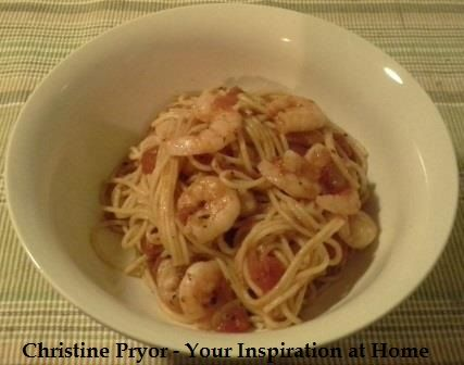 Italian Prawn Spaghetti. A quick pasta recipe for a week night meal. Recipes uses YIAH Mediterranean Olive Oil, onion, diced tomatoes, YIAH Tomato  Herb Dip mix, can tomatoes, white wine, spaghetti, prawns and lemon juice. Visit my Facebook page for the recipe - www.facebook.com/ChristinePryorYIAH
